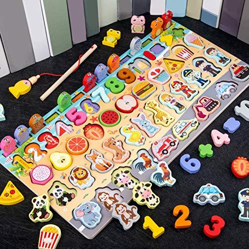 AOLYDA Rompecabezas de madera 8 en 1 multifuncional Montessori de madera con alfabeto y número, juguetes educativos para niños juego de mesa para niños multicolor