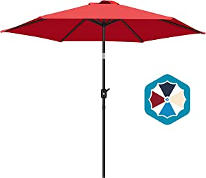 FRUITEAM Solution-Dyed Patio Umbrella Fade-Resistant Canopy, 9ft Market Umbrella Outdoor Table Umbrella with Ventilation and Crank for Garden, Deck, Lawn and Pool (Red)