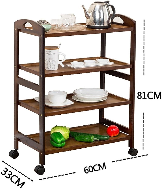 Kitchen Shelf All Purpose Shelving, Tier Serving Trolley,Wood Storage Units Kitchen Storage Racks (color   A, Size   60  33  81cm)
