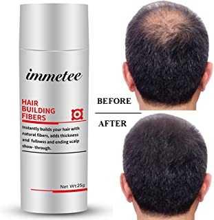 IMMETEE Keratin Hair Building Fibers Powder Conceal Instantly for Thinning Hair,Cover Up Hair Loss Natural Thickens for Men and Women-25g/0.88oz (DARK BROWN)