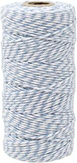 Just Artifacts ECO Bakers Twine 110-Yards 12Ply Striped Cornflower - Decorative Bakers Twine for DIY Crafts and Gift Wrapping