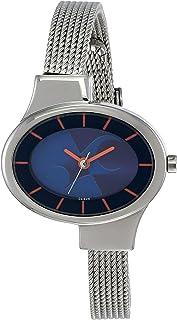 ساعة بمينا ازرق اللون وسوار من الستانلس ستيل