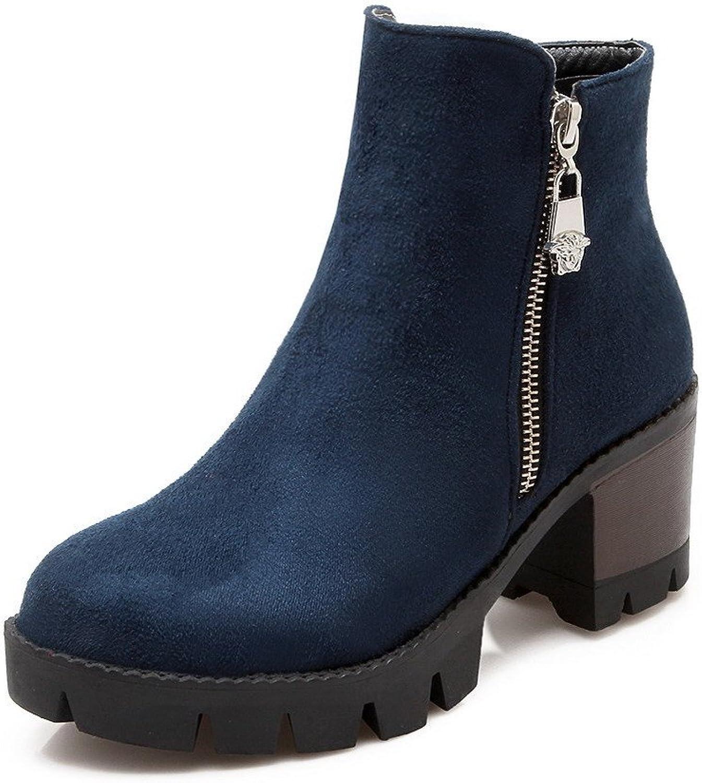AllhqFashion Women's Low Top Solid Zipper Round Closed Toe Kitten-Heels Boots