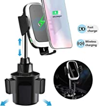 Car Cup Holder Phone Mount Wireless Car Charger Mount Auto Clamping,Qi Fast Car Charging Compatible with iPhone Xs Max/XR/Xs/X/8 Plus,Samsung Galaxy S10 S9 S8 Plus
