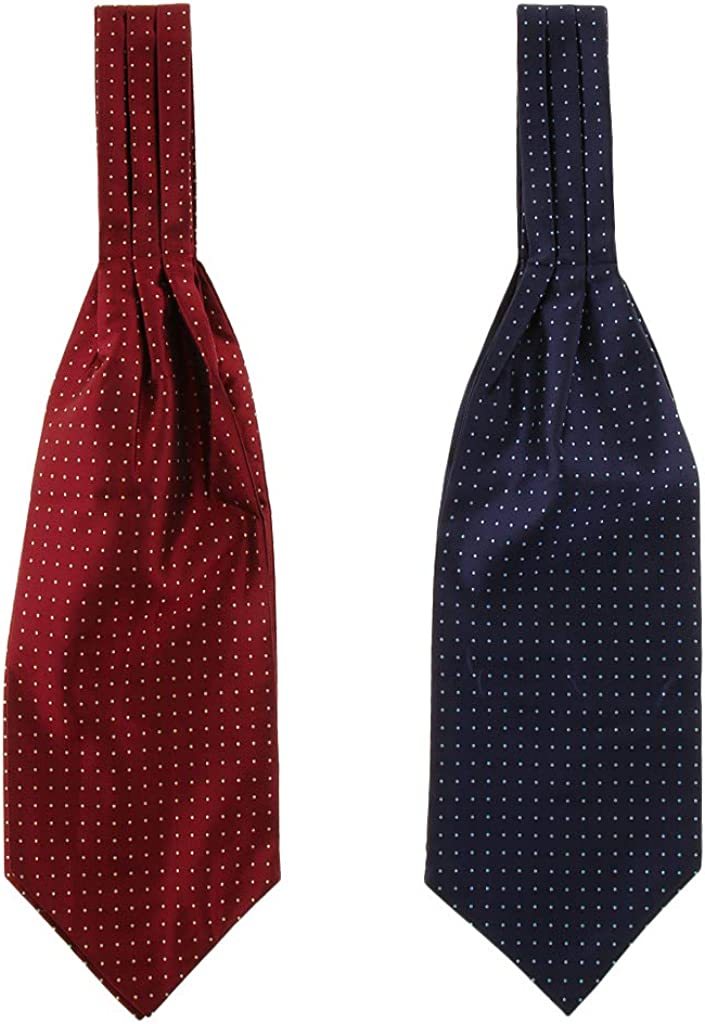 Esquirla 2 Packs Men's Chic Gentleman Style Polka Dot Polyester Silk Cravat Ascot Necktie