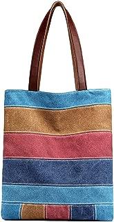 Fanspack Womens Tote Bag Stripe Handbag Casual Mix Color Canvas Shoulder Bag