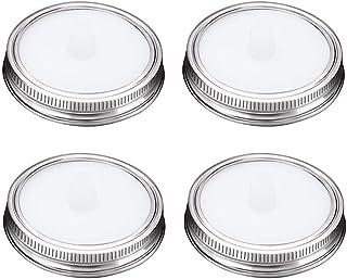Tapas de Fermentación con válvula de liberación de aire, Fermentación kit para Mason Jars de Boca Ancha para Chucrut/Kimchi/Pepinillos, Airlocks de Silicona + Anillo de acero inoxidable, 4 Unidades