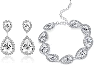 Paxuan Womens Silver/Gold Plated Teardrop Crystal Wedding Bridal Jewelry Set Pendant Necklace Drop Dangle Earrings Set