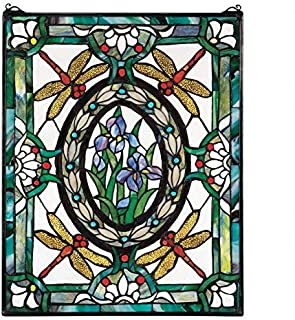 Design Toscano Dragonfly Floral Stained Glass Window Hanging Panel, 25 Inch, Stained Glass, Full Color