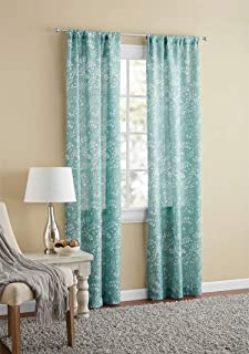 Mainstays Textured Solid Curtain Panel,38x95,Aquifer