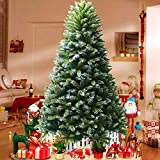 WeyTy Christbaum Künstlich Tannenbaum Weihnachtsbaum Künstlicher 225 cm (ø Ca. 130 cm) mit Ca. 1330 ästen Weihnachtsdeko Tannenbaum mit Schnee Kunst Tannenbaum Spritzguss inkl. Metallständer (Grün)