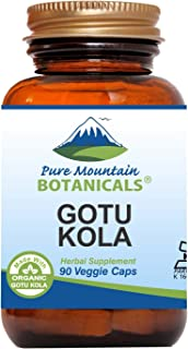 Gotu Kola Capsules - 90 Kosher Vegan Caps with 400mg Organic Gotu Kola Herb