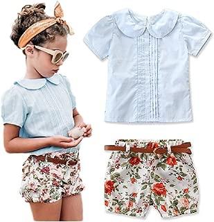 Qwotilitiy 1-6Y - Conjunto de 3 Piezas de Ropa de Verano de algodón para niños, Camisa de Manga Corta, con diseño Floral