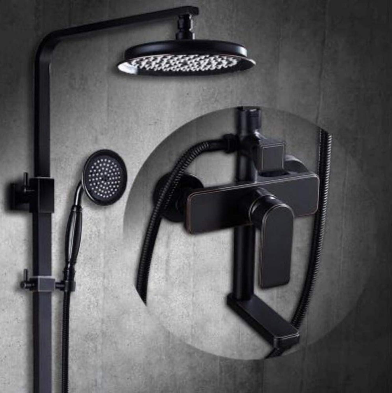 LWUDI Duscharmatur Regendusche Duschsystem, Badezimmer-Dusche-Set, hei und kalt alle Bronze Wand-Badezimmer schwarz Dusche unter der Dusche Düsen-Set, Hand-Massage-Duschkopf,B