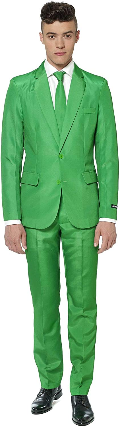 SUITMEISTER Solid Green Suit - Size L, Includes Matching Blazer Jacket, Pants & Tie | Slim Fit Ugly Fancy Dress Outfits | Christmas Day Outfit, Office Party, Thanks Giving & Gatherings