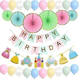 Mainiusi 風船 誕生日 飾り付け 女の子 1歳 バースデー 飾り ピンク マカロン バルーン パーティー デコレーション HAPPY BIRTHDAY ガーランド 特大 ペーパーファン 28点セット
