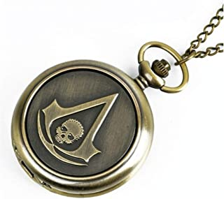 New Pocket Watch FOB Watches Modern Arabic Number Analog Clock Men and Women Fashion Necklace Chain Unisex Yang (Color : B...