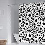 Duschvorhangs Fußball Badewanne Duschvorhang Polyester Stoff Wasserdicht Antibakteriell Waschbar Verstärktem Saum Mit 12 Duschvorhangringen 240 X 200 cm