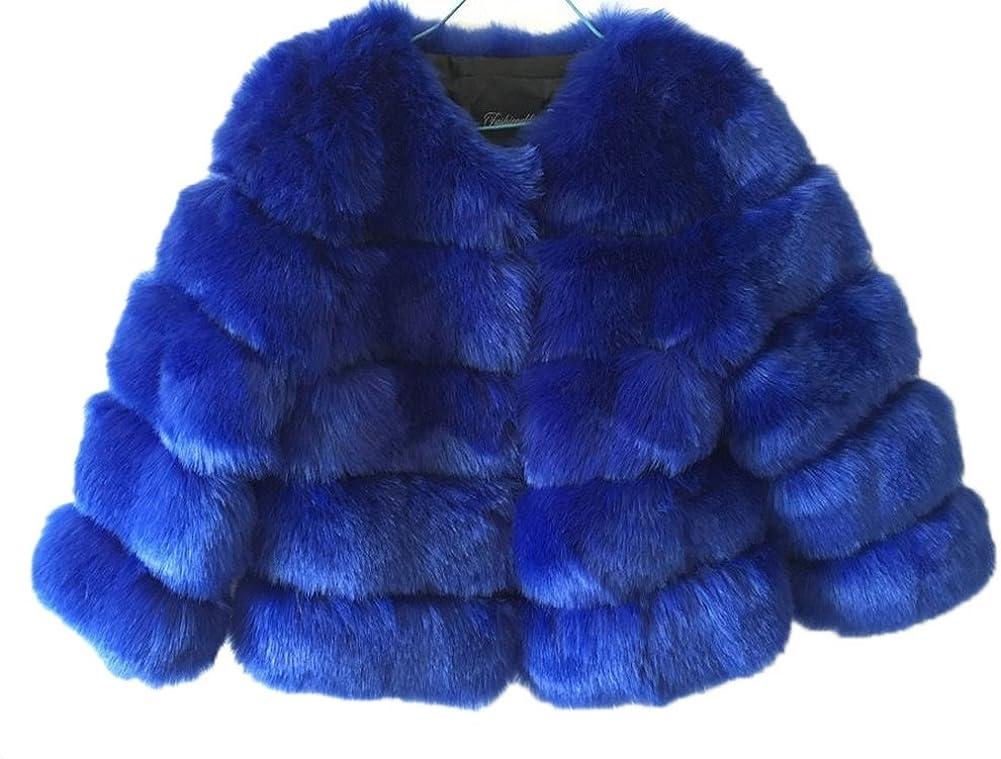 GESELLIE Women's Winter Warm Faux Fur Collarless Furry Short Outwear Coat
