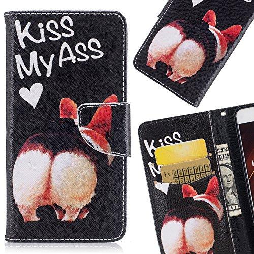 LEMORRY Handyhülle für Xiaomi Pocophone F1 Leder Tasche Flip Beutel Magnetisch Soft SchutzHülle Weich Silikon Cover mit Kartenschlitz Hülle Schale für Xiaomi Poco F1, Kiss My Ass
