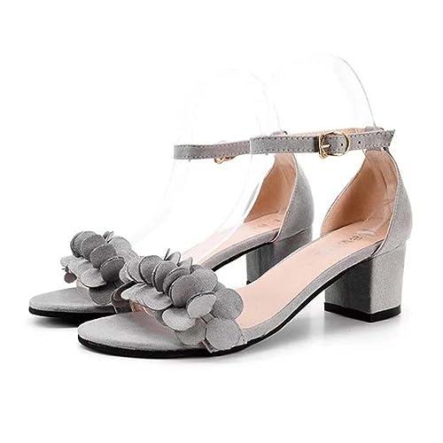 8a932528ea38 OverDose Ladies Block High Heel Sandals Flowers Adorn Buckle High Heels  Shoes