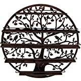 Sorbus Wall Mounted 5 Tier Nail Polish Rack Holder - Tree Silhouette Round Metal Salon Wall Art Display (Bronze)