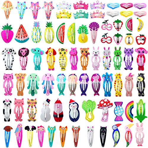 Girls Hair Clips Barrettes, Funtopia 80 Pcs Lovely Animal Fruit Printed Pattern Metal Snap Hair Clips Cartoon Design Hairpins for Kids Teens Pets