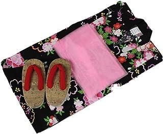 浴衣セット Kawaiina 女の子 ゆかた(花柄)黒色(紅梅織り) 3点セット KWG-15 120cm