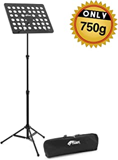 Tiger Lightweight 0.75kg Music Stand and Carry Bag – Fully Height and Angle Adjustable with 2 Tier Mechanism – Orchestral Aluminium Music Stand