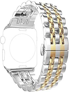 Replacement for Apple Watch Band 38mm Series 3 2 1 40mm Series 5 4, PUGO TOP Stainless Steel Iwatch iPhone Watch Bracelet Link Band for Men Women(38mm/40mm, Gold)