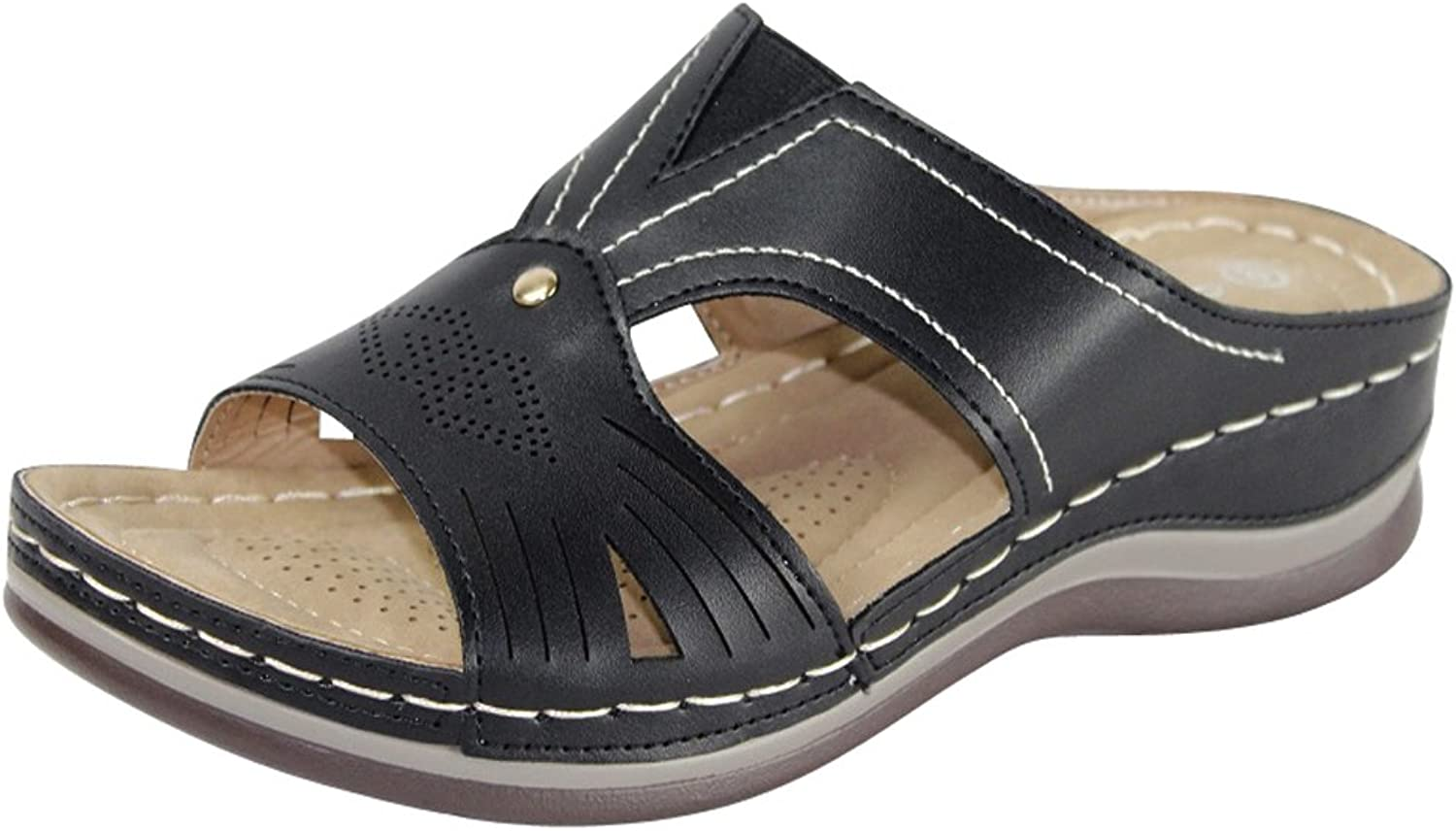 Cambridge Select Women's Comfort Padded Perforated Cutout Slip-On Low Wedge Sandal