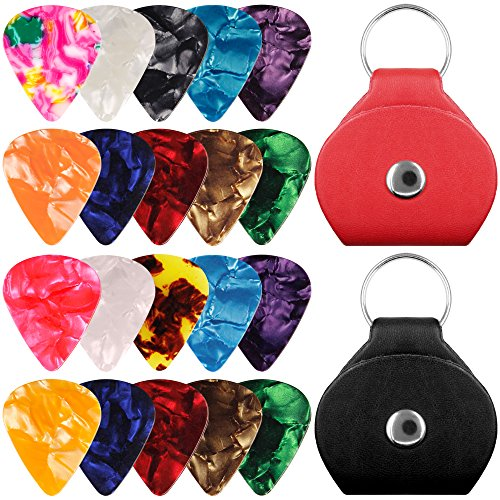 20 paquetes de selección de guitarra de celuloide con soportes, SENHAI 10 paquetes de 0,96 mm y 10 paquetes de 0,71 mm elegantes pinzas de colores, con 2 fundas de cuero PU de protección - neg