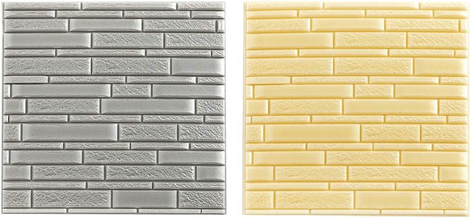 Baoblaze Limited time trial price 2pcs Foam 3D Faux Wallpaper Wall Waterproof New York Mall Brick Tiles