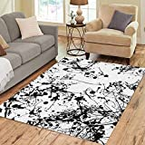 Pinbeam Area Rug Abstract Paint Splatter Pattern Ink Splash Black White Home Decor Floor Rug 3' x 5' Carpet