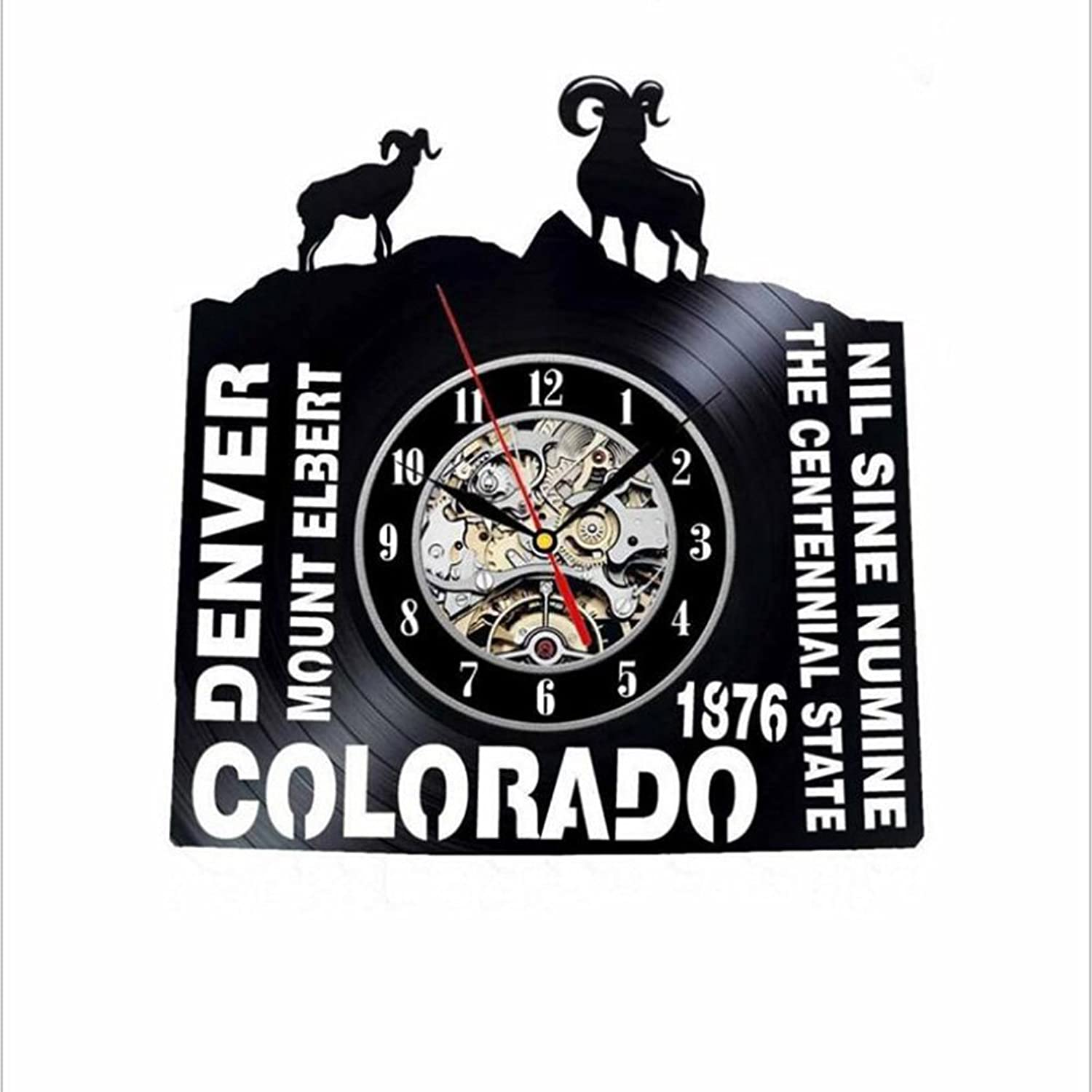 Vinyl Record Wall Clock colorado United States 3D European Epidemic for Living Rooms Kitchens and Bedrooms Decor Style Art