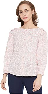 Madame Printed Polyester Boat Neck Womens Top(S21MAD1S18569P-P)