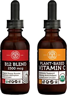Global Healing Plant-Based Vitamin C & B12 Blend Kit - Vegan Antioxidant for Immune Support & Skin Health and Organic Subl...