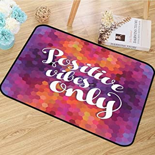 Purple Colorful Mosaic Area Floor Rugs Art Decor Funny Inspirational Quotes Ideas Positive Thinking Positive Vibes Dining Room Home Bedroom W55 x L63 Yellow Orange Pink Blue Red
