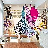 Mural De Papel Tapiz 3D Street Dance Música Graffiti Wallpaper Sala De Baile Gimnasio Restaurante Yoga Studio Tienda De Ropa Wallpaper