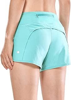 CRZ YOGA Women's Workout Sports Running Shorts Pants Zip Pocket - 4 inch
