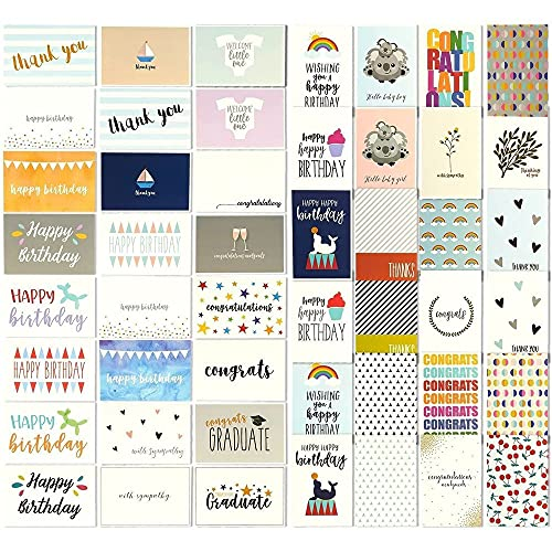 144 Greeting Cards Assortment Bulk Box for All Occasions, Birthday, Graduation, Baby Shower & Thank You, 48 Assorted Designs with Envelopes, 4 x 6 Inches