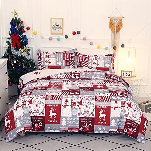 Jemiipee Juego de Ropa de Cama Navidad Labor de Retazos, Fundas Nórdicas Queen 228x228 cm, Ultra Suave Microfibra Funda Nordica a...