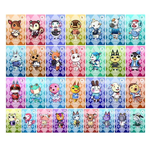 30 PCS ANCH NFC Tag Crossing Game Amiibo Cards for Animal ACNH New Horizons Switch/Switch Lite/Wii U with Storage Case