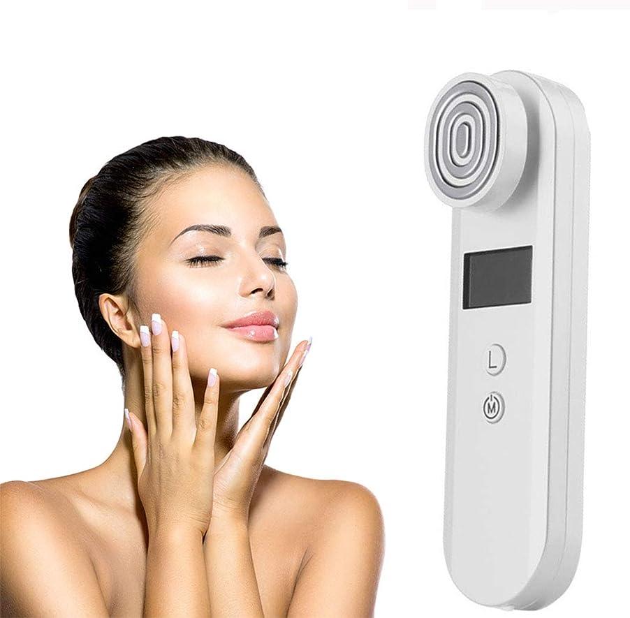 新着不完全効果RFラジオ周波数美容機器、ダークサークル除去シワ除去フェイスネックリフト装置RF顔アンチエイジング美容デバイス顔マッサージャー,White