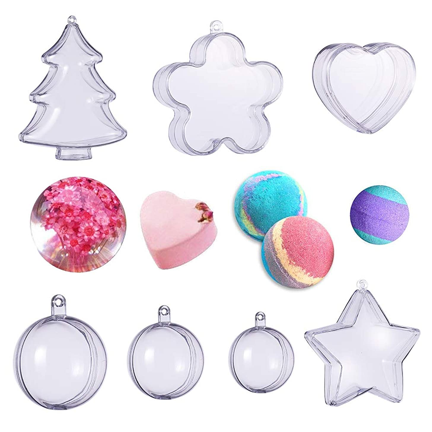 BENECREAT 14 Sets Bath Bomb Molds, DIY Bath Bomb 7 Size with 14 Set Clear Plastic Christmas Ball Ornaments for Party Decorations (Christmas Tree & Flower & Heart & Star & 3 Size Round)