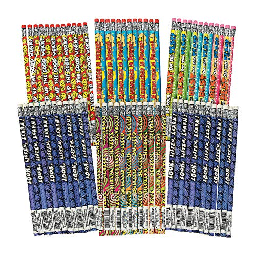 Fun Express Motivational Pencil Assortment (144Pc) - 144 Pieces - Educational and Learning Activities for Kids