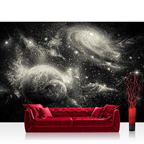 Vlies Fototapete 152.5x104cm PREMIUM PLUS Wand Foto Tapete Wand Bild Vliestapete - Welt Tapete Weltraum Weltall Planeten Galaxie Sterne anthrazit - no. 2962