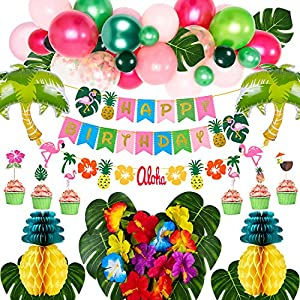 Golray Hawaiian Luau Birthday Party Decorations Supplies Tropical Moana Summer Party Decor with Balloon Arch, Palm Leaves, Silk Hibiscus Flowers, Tissue Paper Pineapples, Cupcake Toppers, Flamingo Pineapple Happy Birthday Felt Banner, Trees Foil Balloons, Luau Hawaiian Party Supplies Décor