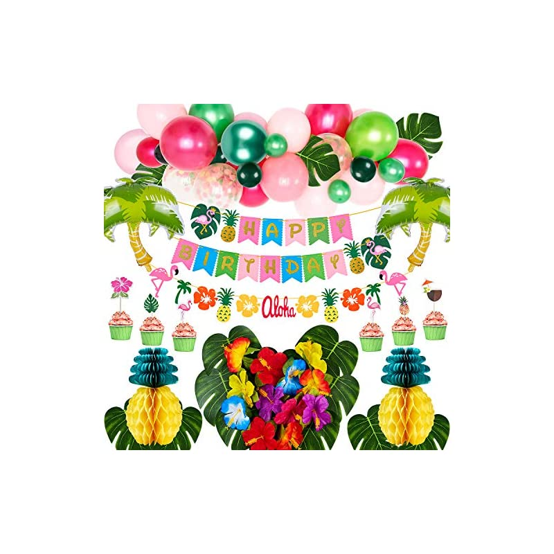 silk flower arrangements golray hawaiian luau birthday party decorations supplies girls tropical moana summer decor balloon arch, silk leaves flowers, pineapples, cake toppers, trees balloons, flamingo happy birthday banner