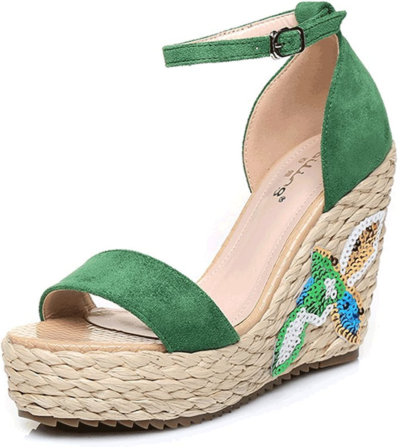 Sweet Wedges Sandals High Heels Bohemian Vintage Embroidered Open-Toe Woven Ankle shoes (color   Green 10.5cm, Size   34)